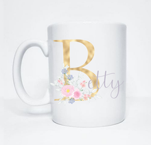 Load image into Gallery viewer, Gold Floral Initial Gift Sets for Birthdays, Bridesmaids, Retirement and Babyshowers