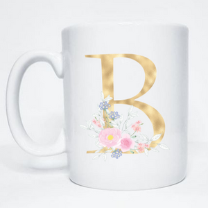 Gold Floral Initial Gift Sets for Birthdays, Bridesmaids, Retirement and Babyshowers