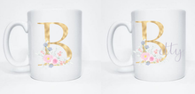 Load image into Gallery viewer, Gold Floral Inital Mug