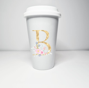 Gold Floral Inital Travel Mug