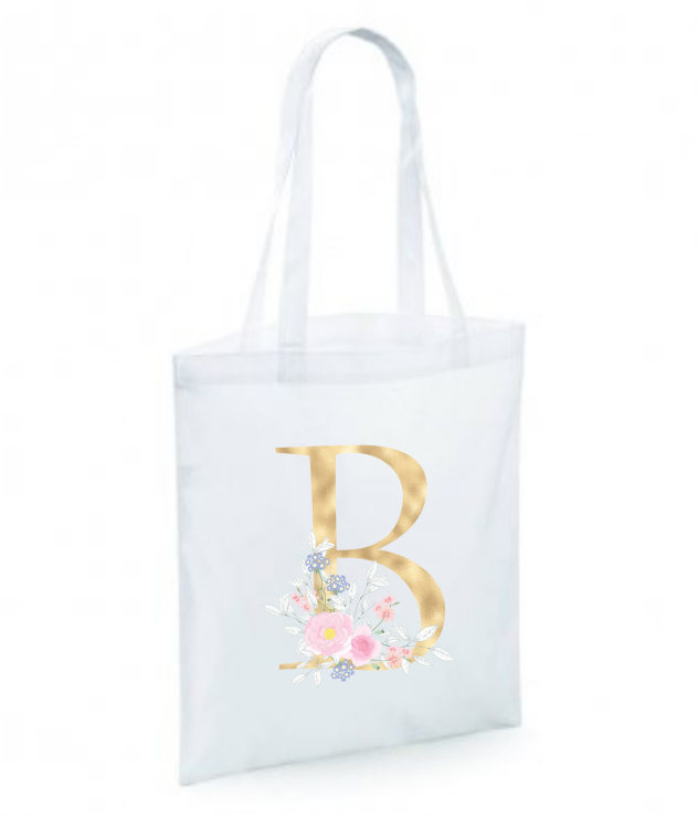 Gold Floral Inital Tote Bag