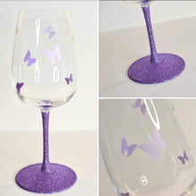 Load image into Gallery viewer, Personalised Butterfly Glitter Stem Wine Glass