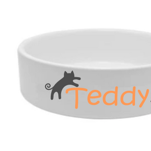 Jumping Cat Bowl Food and Water White Ceramic Bowls