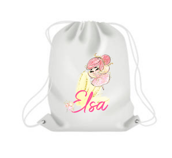 Personalised Fairy White Draw string / Gym Bag