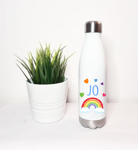 Rainbow White Stainless Steel Water Bottle
