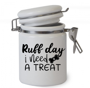 Ruff Day I Need A Treat, Pet Cat Treat Storage, Sealed Jar Gift Personalised dog Treat Jar, dog treat jar, jars, Ceramic jar, pets, dog lovers, pet treats, dog, cat, dog gift, gift, Christmas