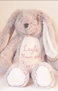Personalised Grey & White Bunnies Teddies