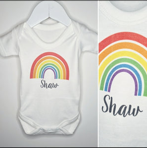 Personalised Rainbow Name Baby Vest