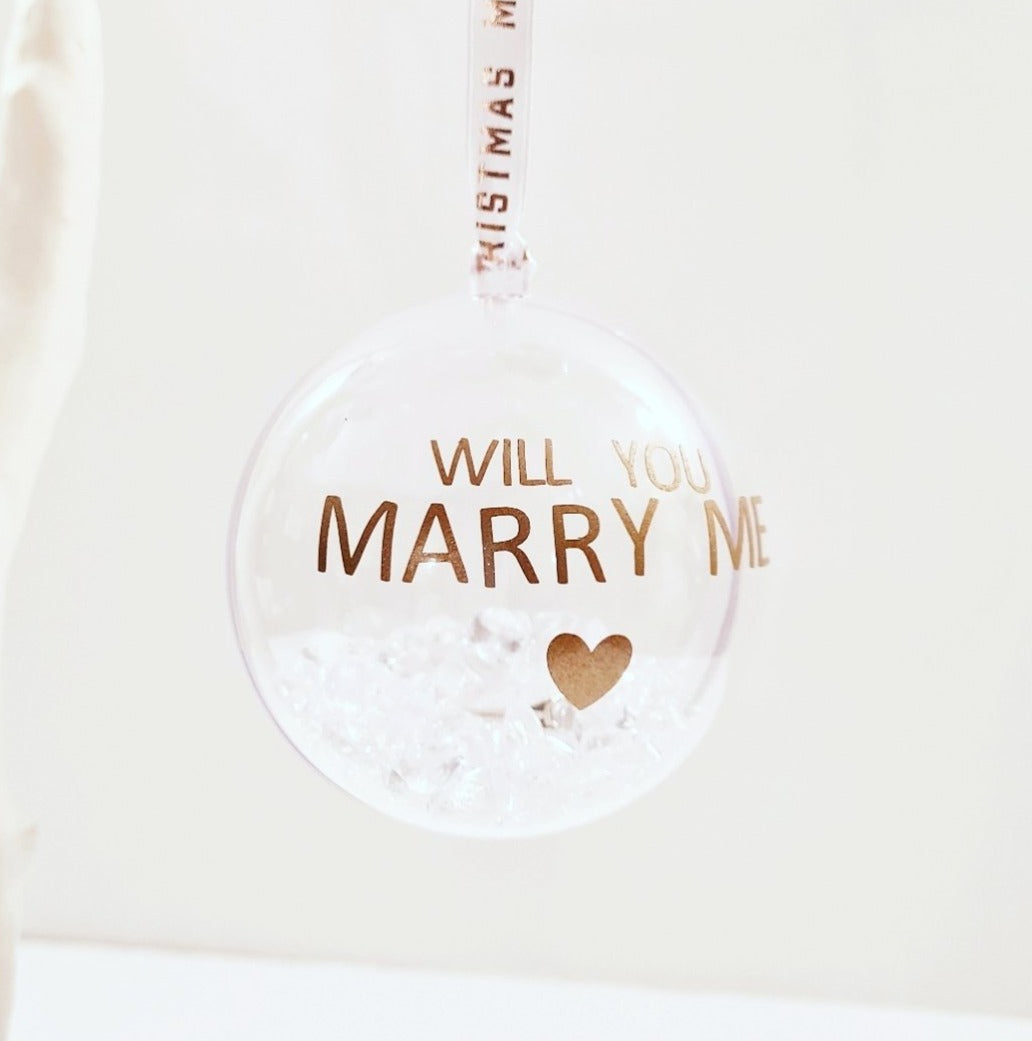 Personalised Will You Marry Me Bauble