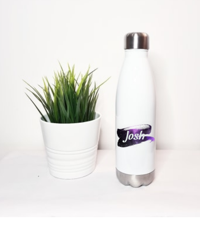 Space Background White Stainless Steel Water Bottle