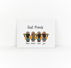 Personalised Friends Sunflower Illustrations Print