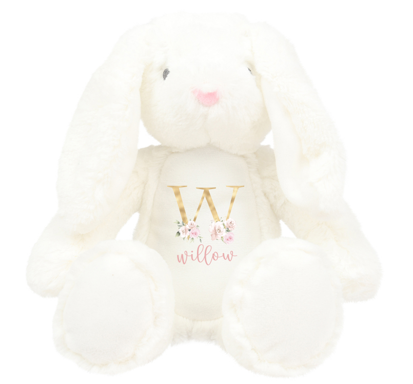 Personalised White Gold Inital Design Rabbits
