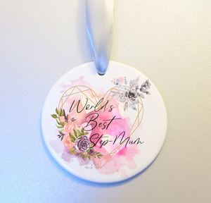 Worlds Best Step Mum Floral Purple and Pink Ceramic Hanging Ornament