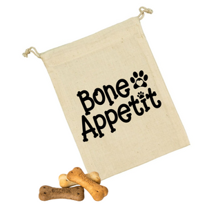 Bone Appetite Personalised Canvas Dog Name Dog/Cat Cotton Drawstring Treat Bag With Paw Print