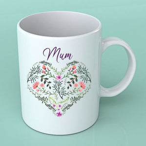 Personalised Mum Heat Floral Mug