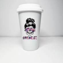 Load image into Gallery viewer, Momlife / thug life ceramic travel mug