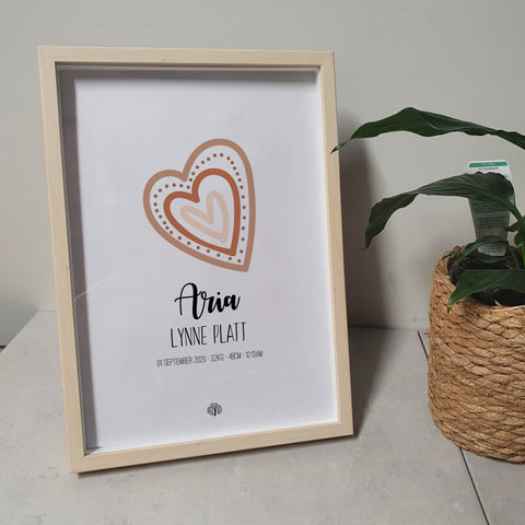 Dotted Hearts - Earth A4 Birth Print