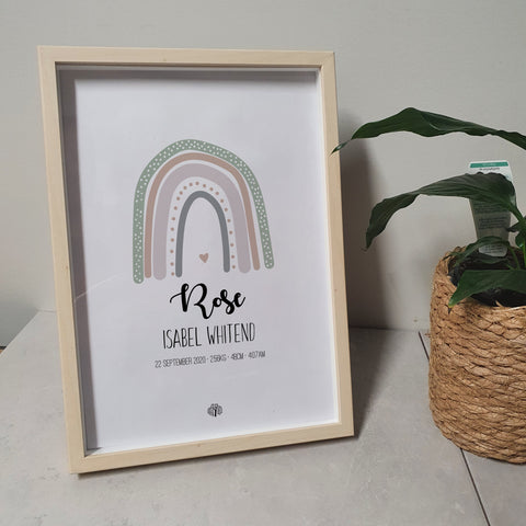 Boho Rainbow - Sage A4 Birth Print