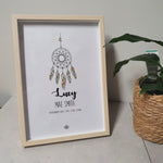 Native Dreaming - Peach A4 Birth Print