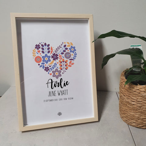 Floral Hearts - Lavender A4 Birth Print