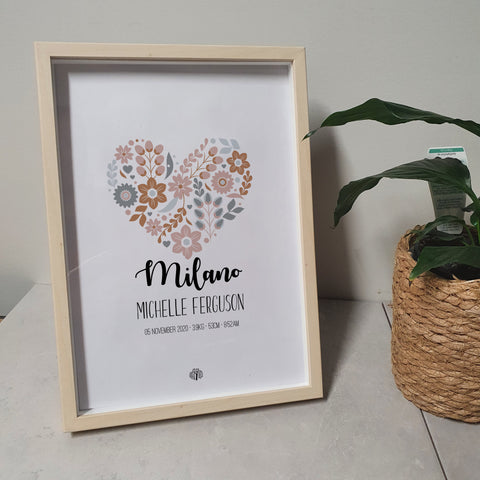 Floral Hearts - Coral A4 Birth Print