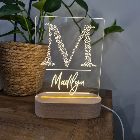 Personalised Night Light 🌙 - Monogram Name