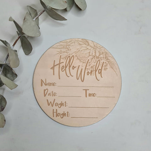 Hello World Protea - Basswood Milestone Disc