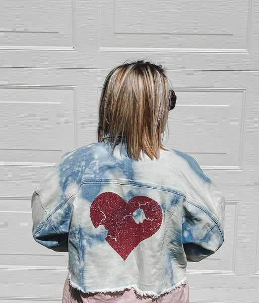 Upcycled Denim Jacket- Rose Gold Resilient Heart