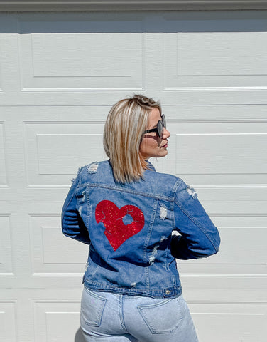 Upcycled Denim Jacket - Red Resilient Heart