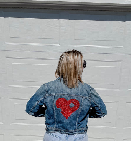 Upcycled Demin Jacket - Red Resilient Heart