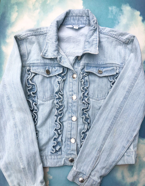 Upcycled Denim Jacket - Blue Daisy