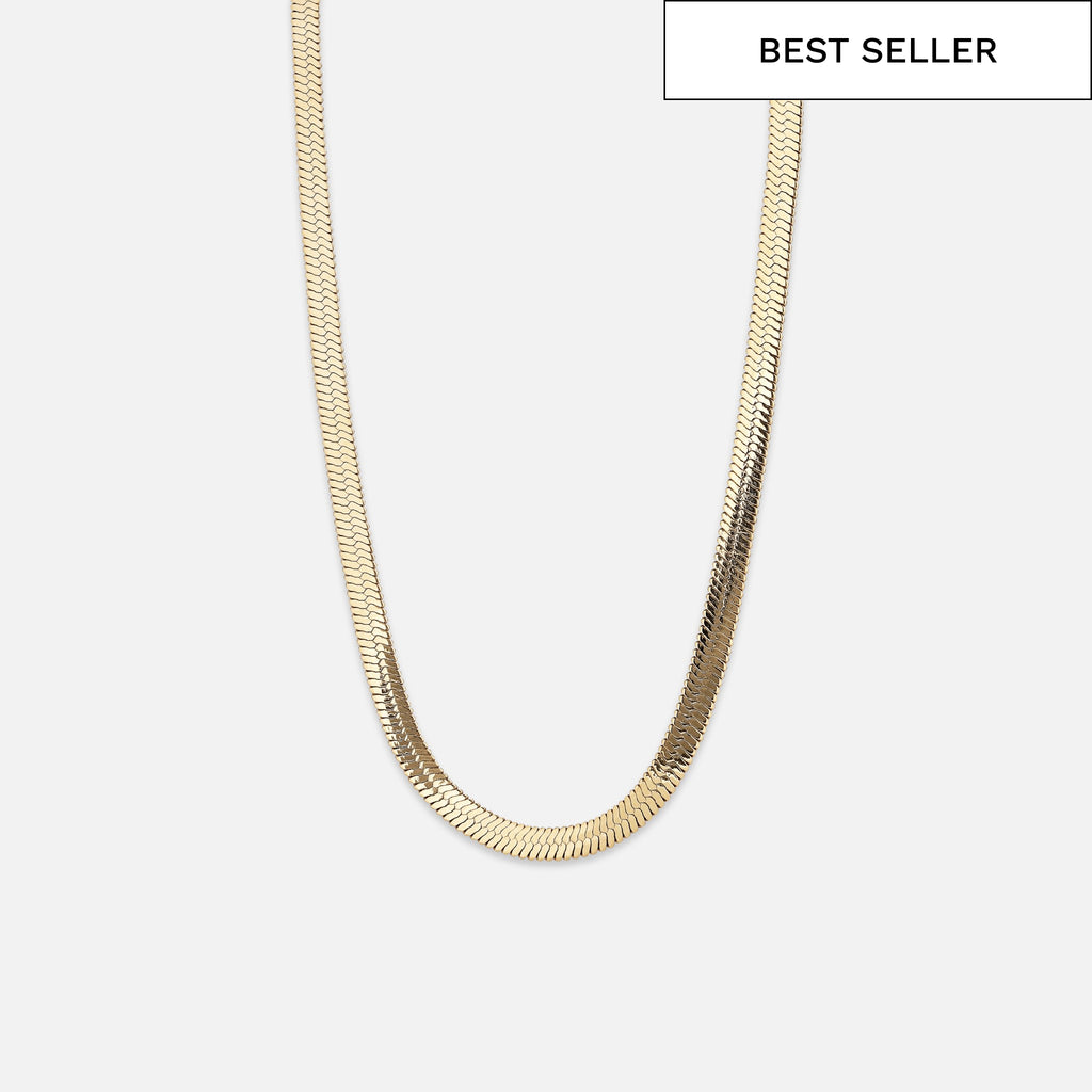 North North North 14k Gold plated Necklace | Hannibal | Herringbone Chain Necklace Gold