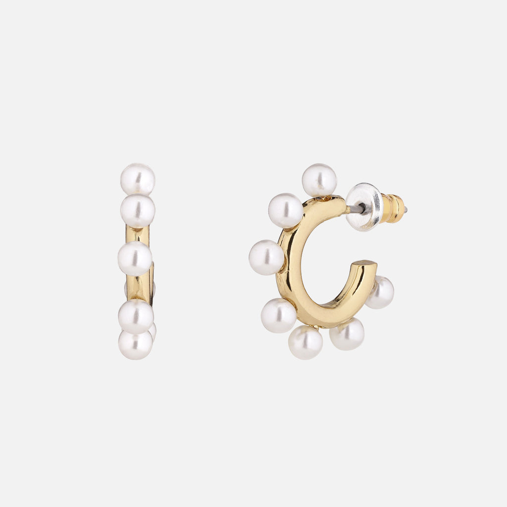 North North North 14k gold plated hoop earrings with pearls | Beate Earring Gold