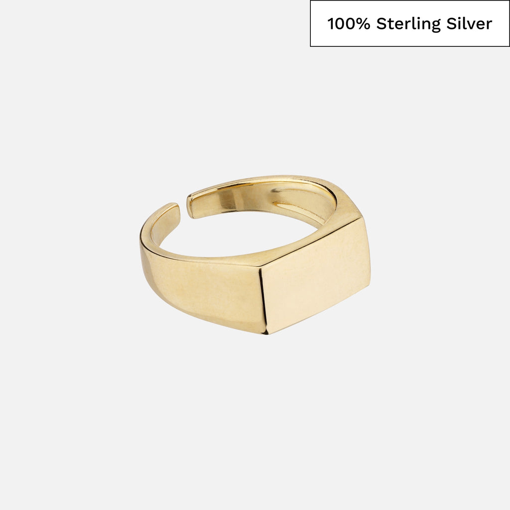 North North North 14k gold plated signet ring in 100% sterling silver | Madsen Ring Gold
