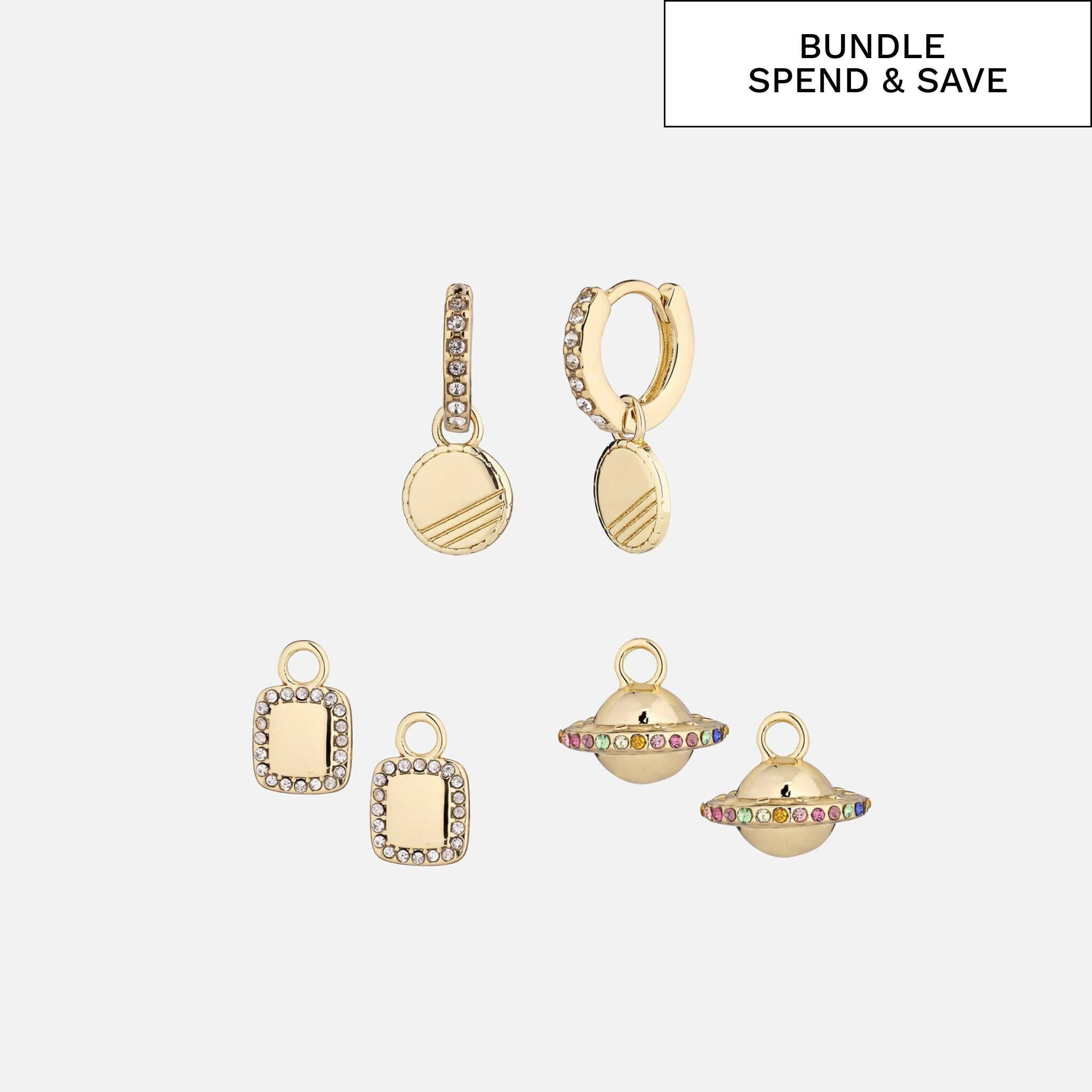 North North North 14k goldplated huggie hoop earrings with three pendants | Kimberly-Lou Earring Gold