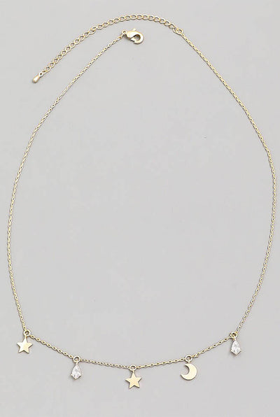 DAINTY STAR AND MOON NECKLACE