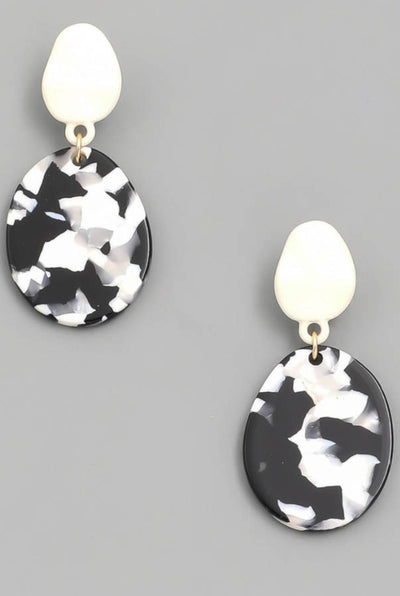 OVAL DISC DROP EARRINGS