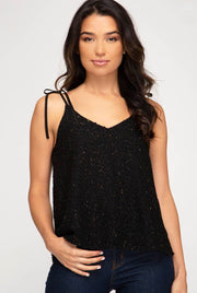 TEXTURED CAMI TOP WITH SHOULDER TIES