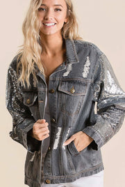 DISTRESSED DENIM JACKET WITH SEQUIN SLEEVES