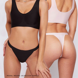 JJ14: Black and Blush Thongs