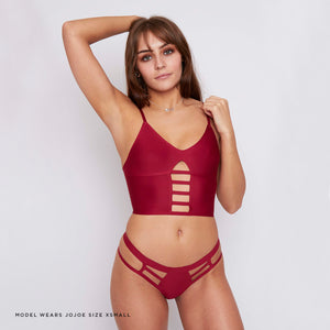 Eco friendly underwear made from recycled fabrics in a wine red colourway - this thong is breathable, super comfortable and on trend.