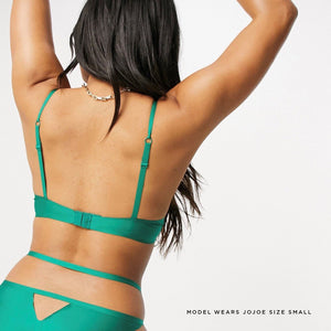 Forest green ethically made bra, made from recycled fabrics
