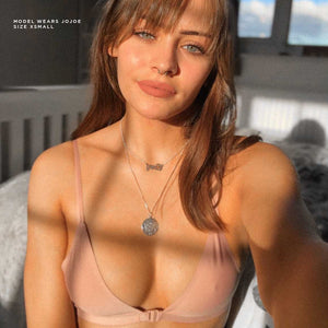 Double strap, front fastening pink bralette with the planet in mind