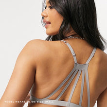 Lade das Bild in den Galerie-Viewer, Caged back bralette with keyhole front and double strap design, in a Dusty Grey colourway.