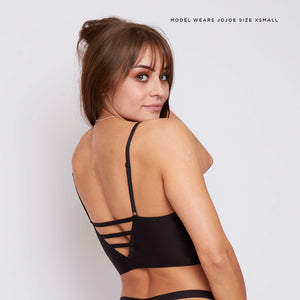 Lounge worthy bralettes - this black cut out detail bralette is super comfy and flattering due to its tringle longline design.
