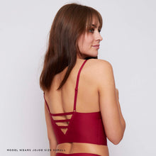 Load image into Gallery viewer, Respondsibly made, the wine red JJ8 longline triangle bralette is eco conscious and planet friendly - and for only £18!