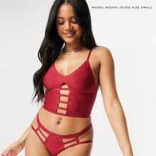Load image into Gallery viewer, This wine red longline bralette is both super comfy and contemporary, created with reycled fabrics and bonded seams for ultimate comfort.