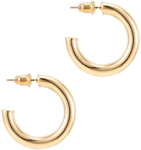 14K Gold Colored Lightweight Chunky Open Hoops | Gold Hoop Earrings for Women