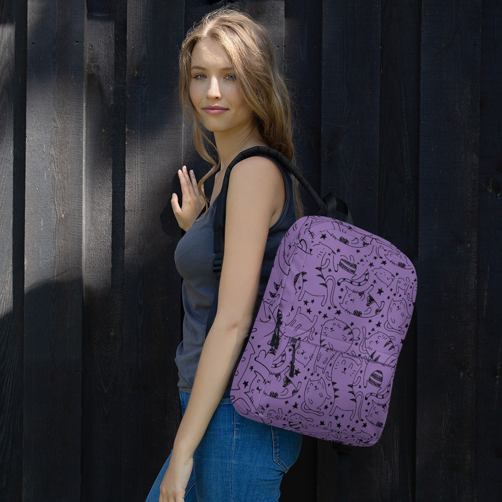 Love Cat Purple Backpack