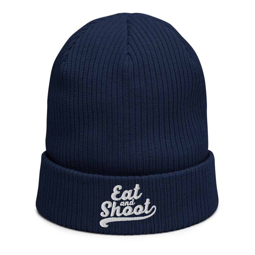 Eat and Shoot - Biologische geribbelde beanie